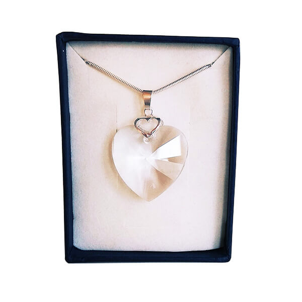 Prívesok Srdce v srdci SWAROVSKI - Crystal (veľkosť 28 mm)