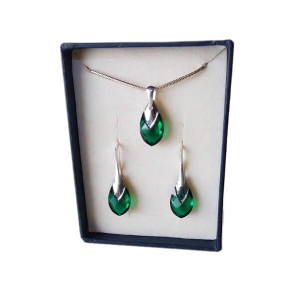 Set prívesku a náušníc Smaragdové slzy SWAROVSKI - Crystal (veľkosť 18 mm)