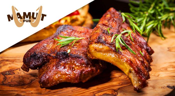 Vychutnajte si veľkú porciu grilovaných rebierok v chutnej medovej a jemne pikantnej marináde s prílohami alebo GrilMix už od 10,90 € v obľúbenom Mamut pube v centre Bratislavy!