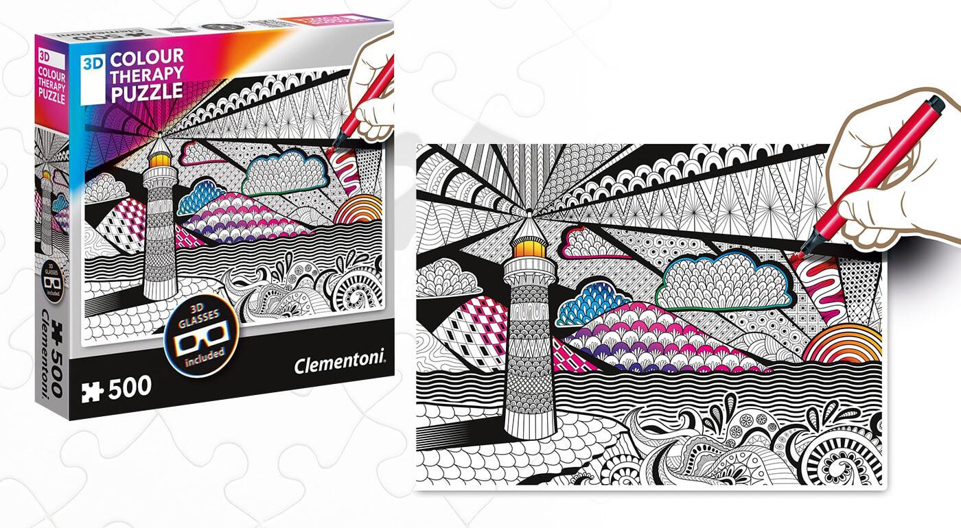 Vyfarbite si svoje puzzle: Clementoni Colour Therapy Maják 500 dielov s 3D okuliarmi