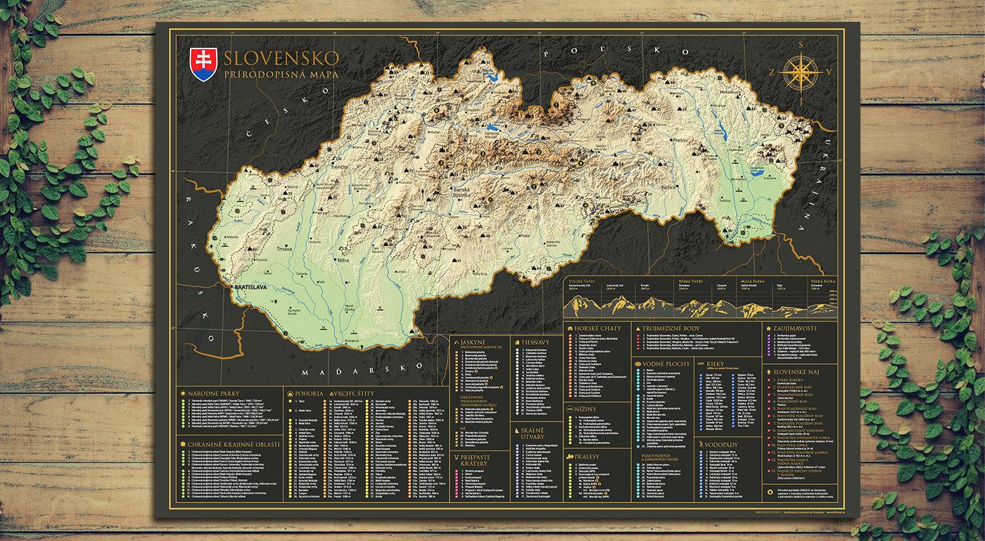 Prírodopisná stieracia mapa Slovenska - objavujte prírodné krásy našej krajiny a spoznávanie si značte na svoju mapu. Ideálny darček aj pre vašich blízkych.