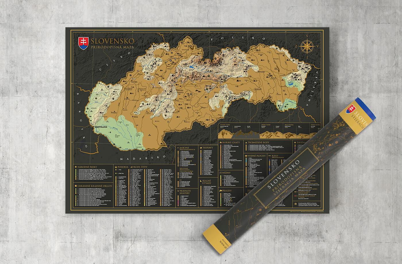 Stieracia mapa Slovenska prírodopisná - darčeková verzia