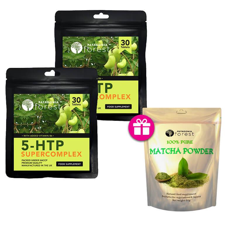 Patagonia Forest: Prírodný doplnok 5-HTP 100 mg (2x balenie 30 tabliet) + darček 100% Matcha čaj (50 g)