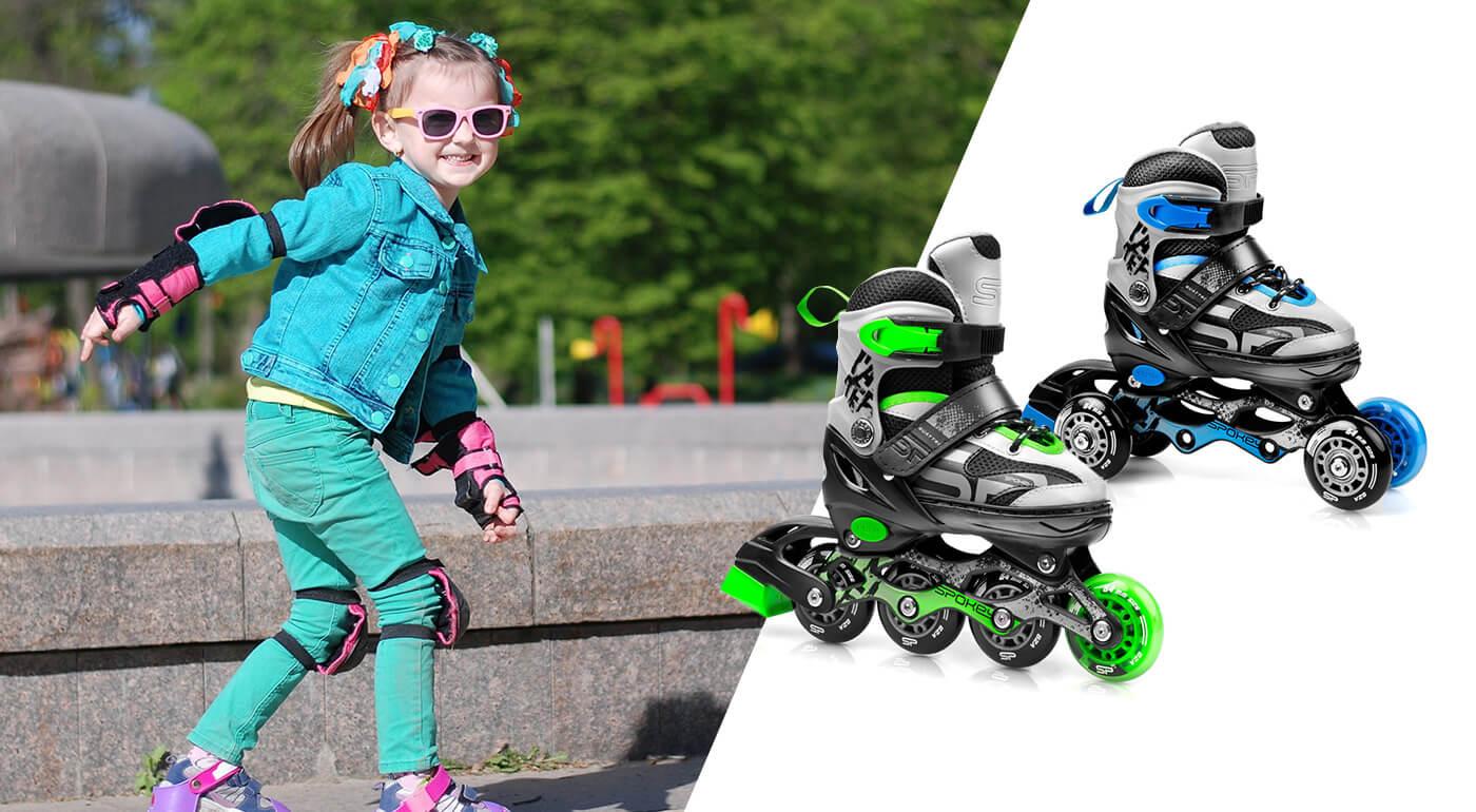 Detské korčule Spokey Quattro 4v1 - kolieskové, trekové, tri-skates a zimné korčule v jednom