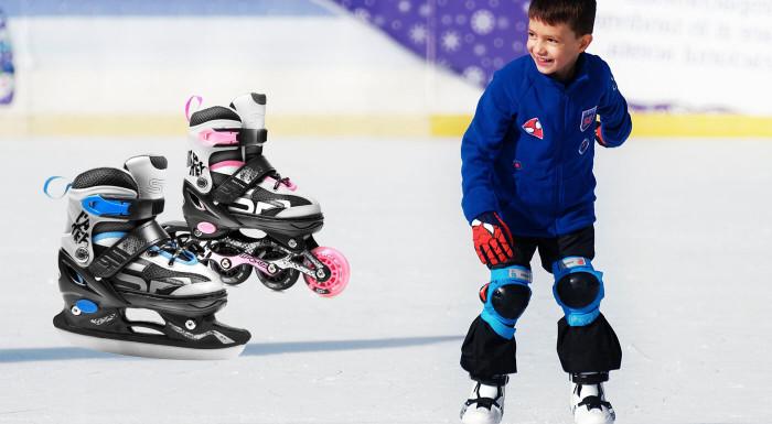 Doprajte svojim deťom množstvo zábavy a pohybu s korčuľami, ktoré využijú počas celého roka! Korčule Spokey Quattro majú kolieska aj hokejový nôž, takže s ním deti zažijú kopec zábavy aj na ľade.
