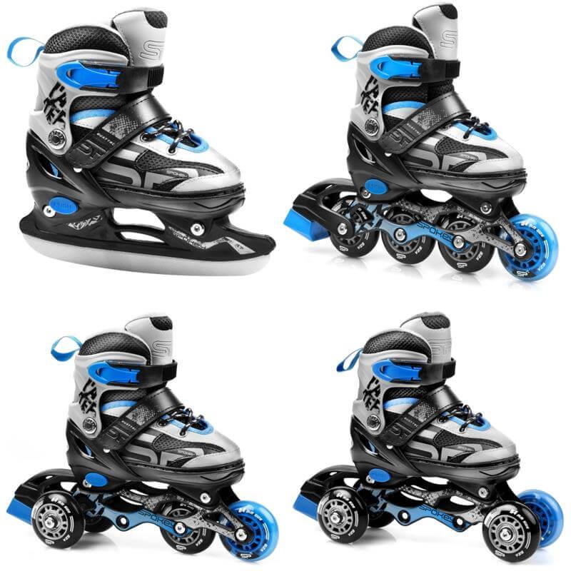 Spokey QUATTRO Detské korčule 4v1 - modré (veľkosť 30-33)
