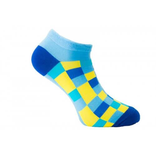 FunnySOX ponožky Pixelky nízke žlto-modré - veľkosť 36-40