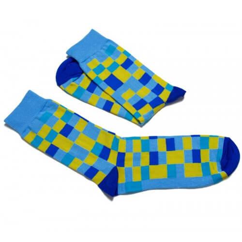FunnySOX ponožky Pixelky žlto-modré - veľkosť 36-40