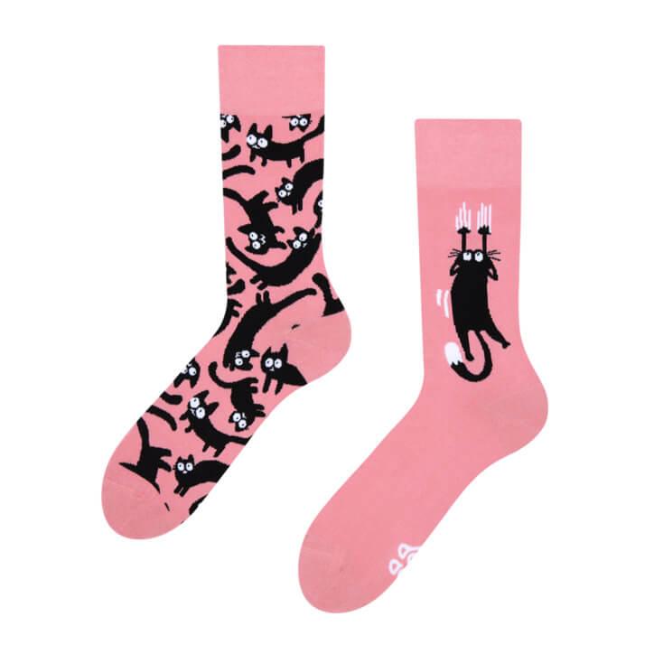 Good Mood ponožky Ružové mačky - veľkosť 43-46