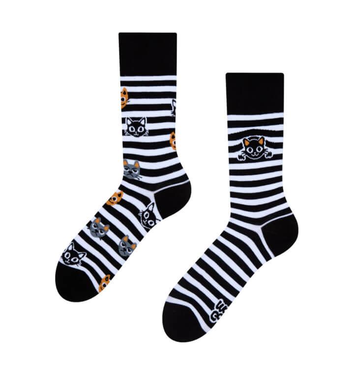 Veselé ponožky Mačky a pruhy - veľkosť 39-42