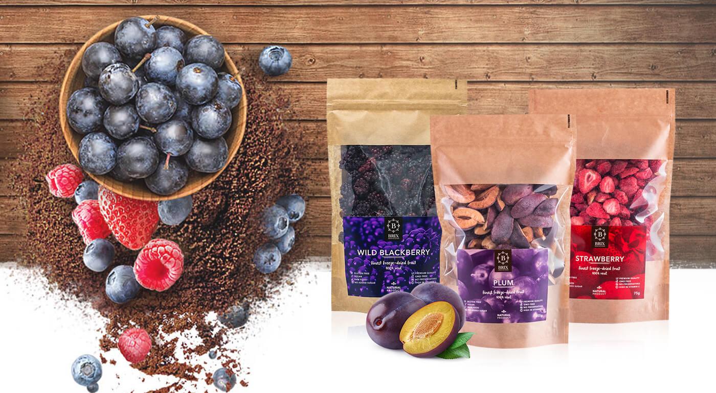 Mrazom sušené ovocie slovenskej značky BRIX ocenené značkou GREAT TASTE - klasické druhy ovocia