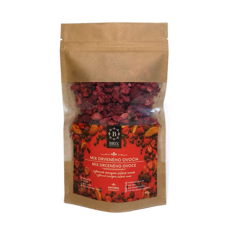 BRIX Mrazom sušená ovocná drť - mix 8 druhov ovocia (slivka, višňa, černica, marhuľa, čierna ríbezľa, jahoda, malina, čučoriedka) 80 g