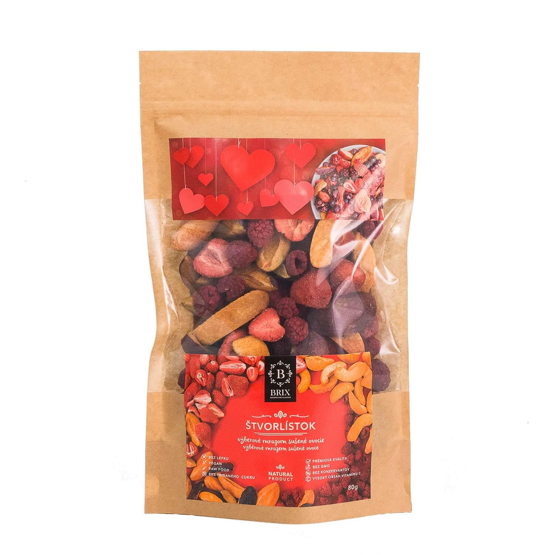 BRIX Štvorlístok - mrazom sušený mix 4 druhov ovocia (jahoda, malina, marhuľa, slivka) 80 g
