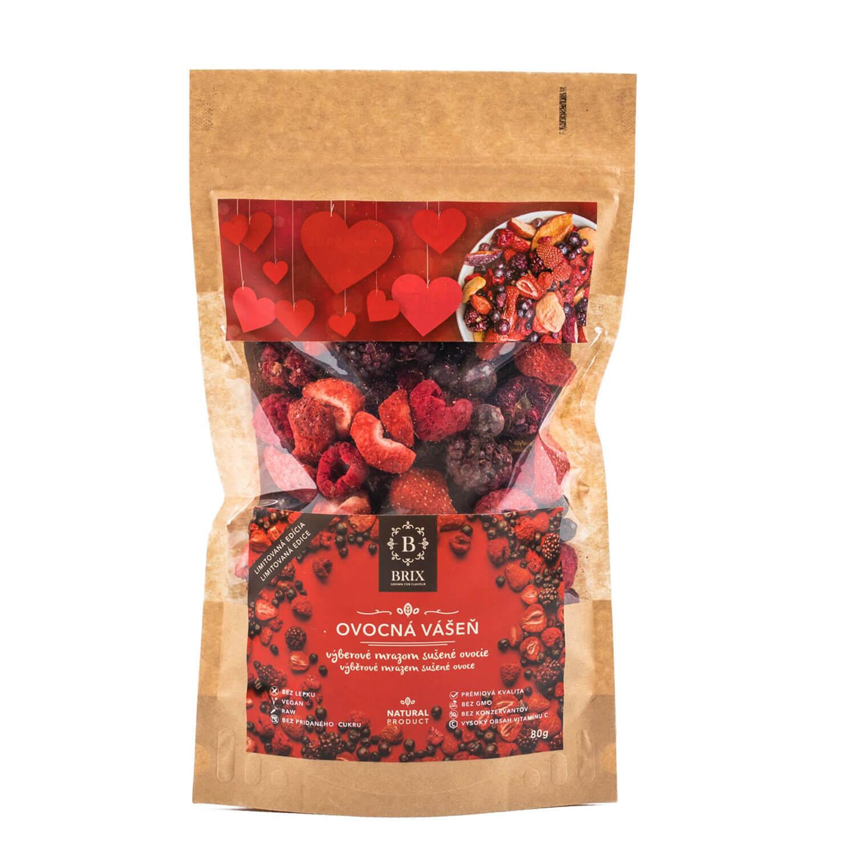 BRIX Ovocná vášeň - mrazom sušený mix 5 druhov ovocia (čučoriedka, černica, čierna ríbezľa, malina, jahoda) 80 g
