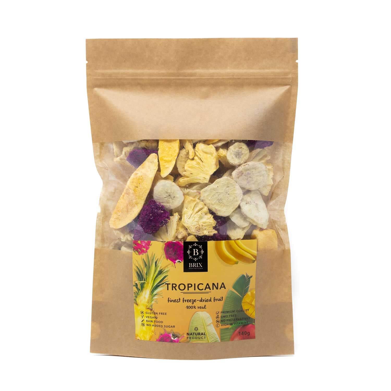 BRIX Tropicana - mrazom sušený mix 4 druhov ovocia (banán, ananás, pitahaya, mango) 140 g