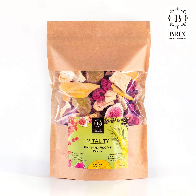 BRIX Vitalita - mrazom sušený mix 8 druhov ovocia (višňa, čierna ríbezľa, mango, ananás, melón, figa, černica lesná, malina) 140 g