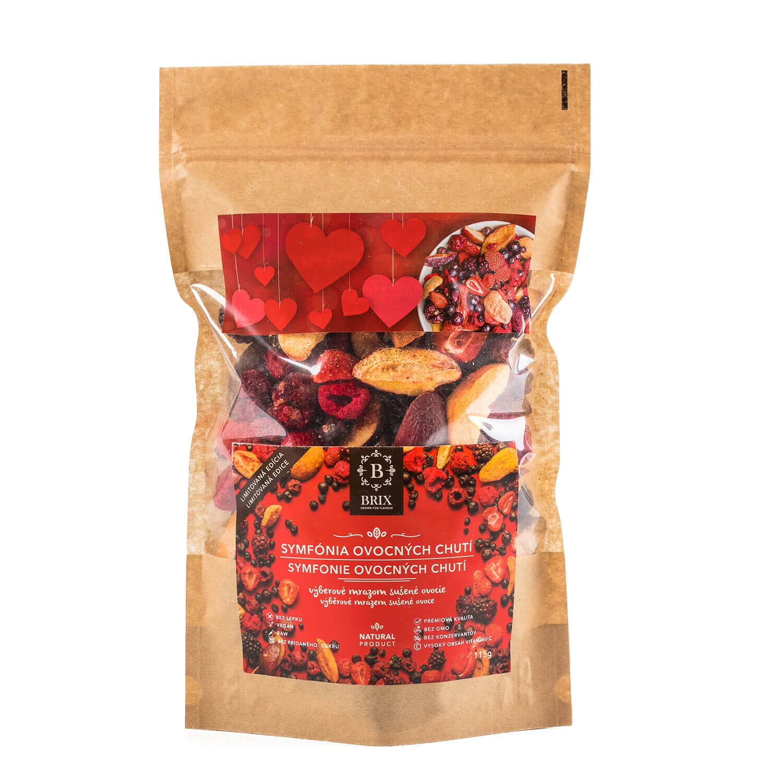 BRIX Symfónia ovocných chutí - mrazom sušený mix 8 druhov ovocia (višňa, slivka, černica, marhuľa, čierna ríbezľa, jahoda, čučoriedka, malina) 115 g