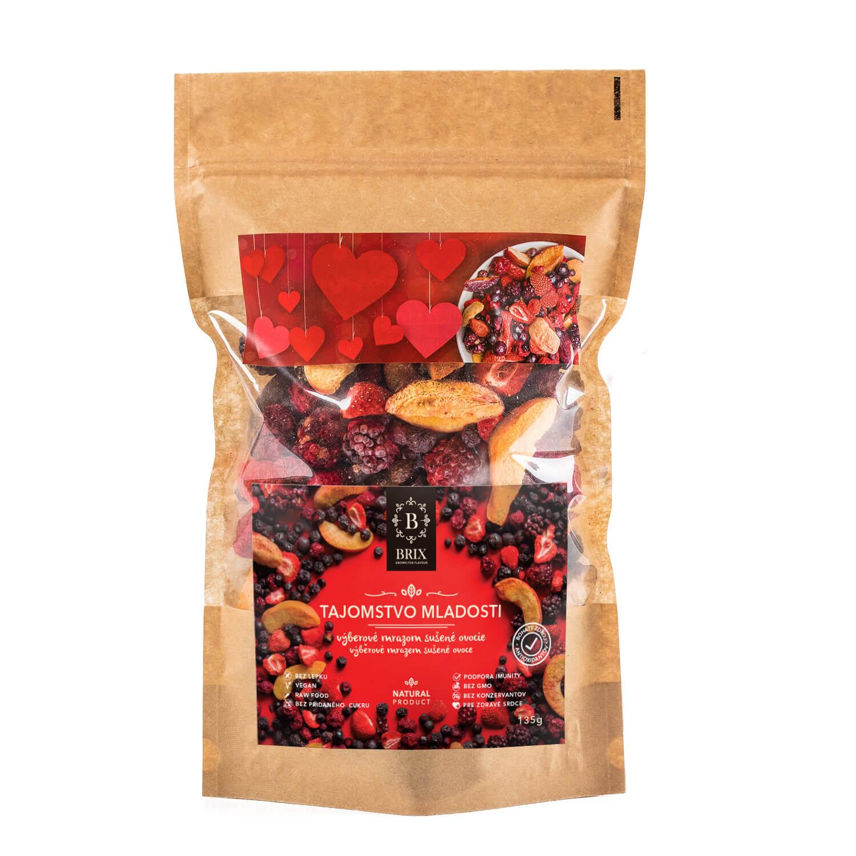 BRIX Tajomstvo mladosti - mrazom sušený mix 5 druhov ovocia a arónie (višňa, černica, marhuľa, jahoda, čučoriedka) 135 g