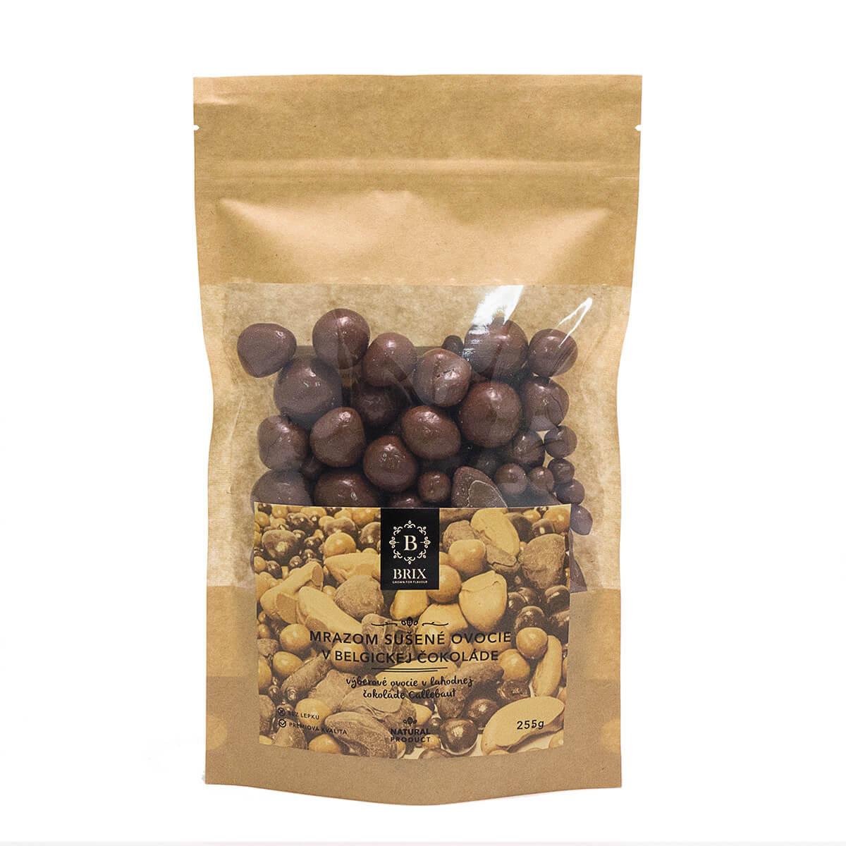 BRIX Mrazom sušený mix ovocia v mliečnej čokoláde (jahoda, malina, marhuľa, čučoriedka) 255 g