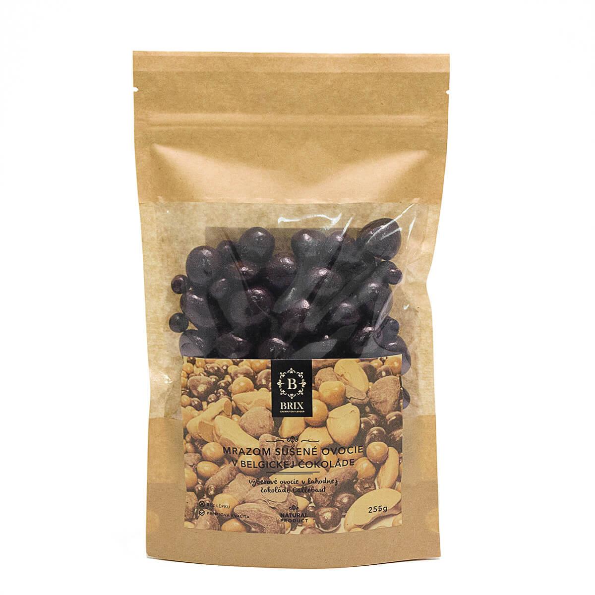 BRIX Mrazom sušený mix ovocia v horkej čokoláde (jahoda, malina, marhuľa) 255 g