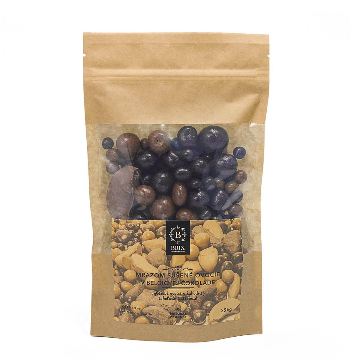 BRIX Mrazom sušený mix ovocia v mliečnej a horkej čokoláde (jahoda, malina, marhuľa, čučoriedka) 255 g