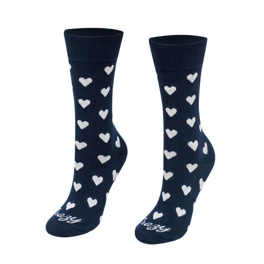 Crazy Step ponožky Srdiečka biele na modrom pozadí - veľkosť 35-38