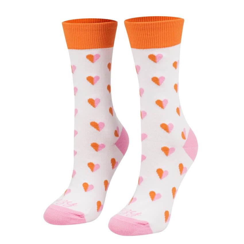 Crazy Step ponožky Srdiečka ružové na bielom pozadí - veľkosť 35-38