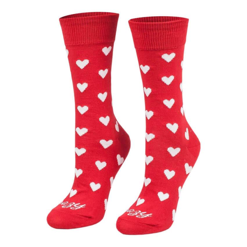 Crazy Step ponožky Srdiečka biele na červenom pozadí - veľkosť 35-38
