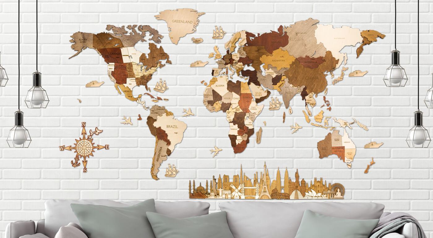 Sen cestovateľov - veľká drevená mapa sveta na stenu