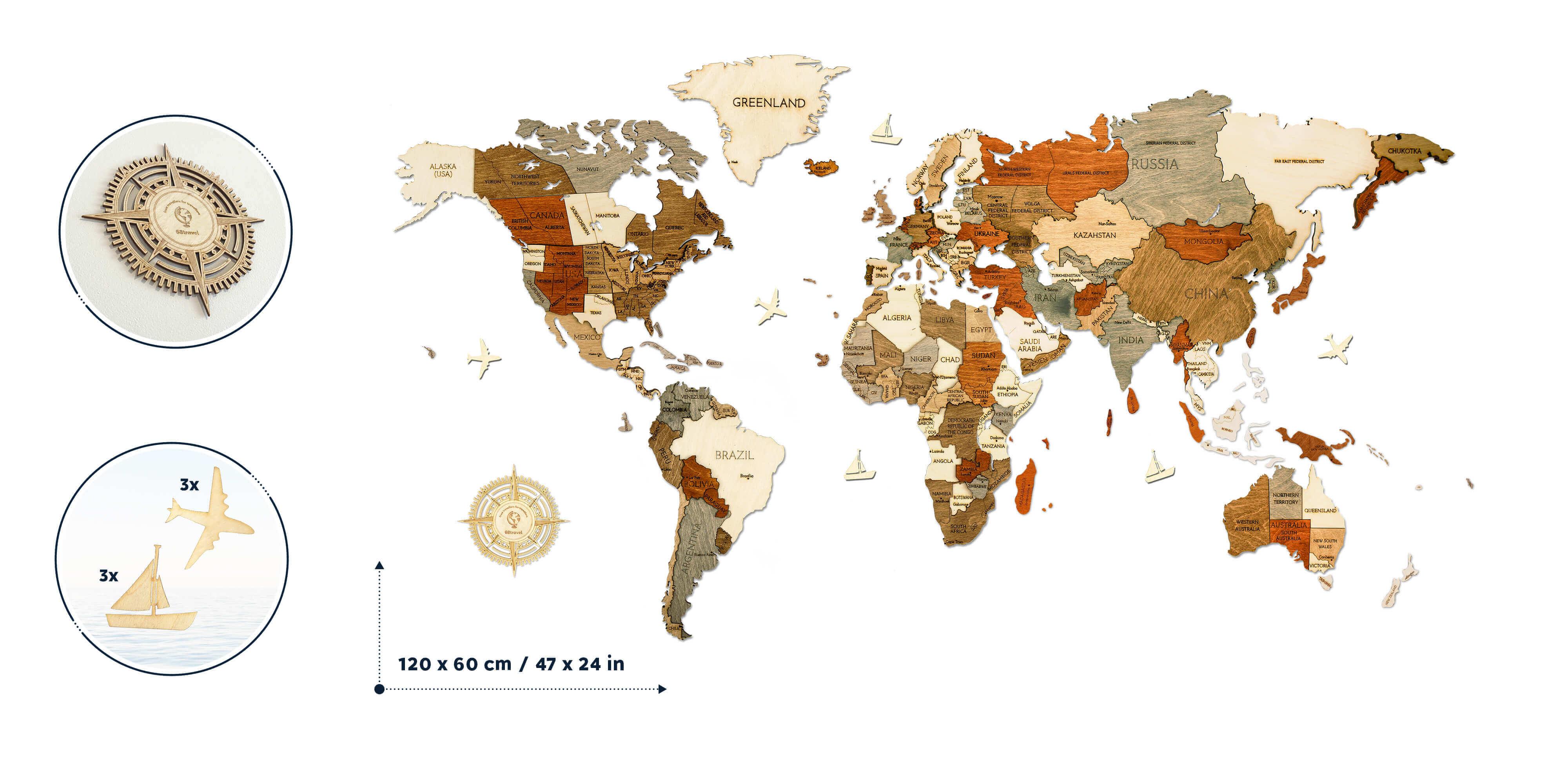 Drevená mapa sveta L štandard (rozmer 120x60 cm)