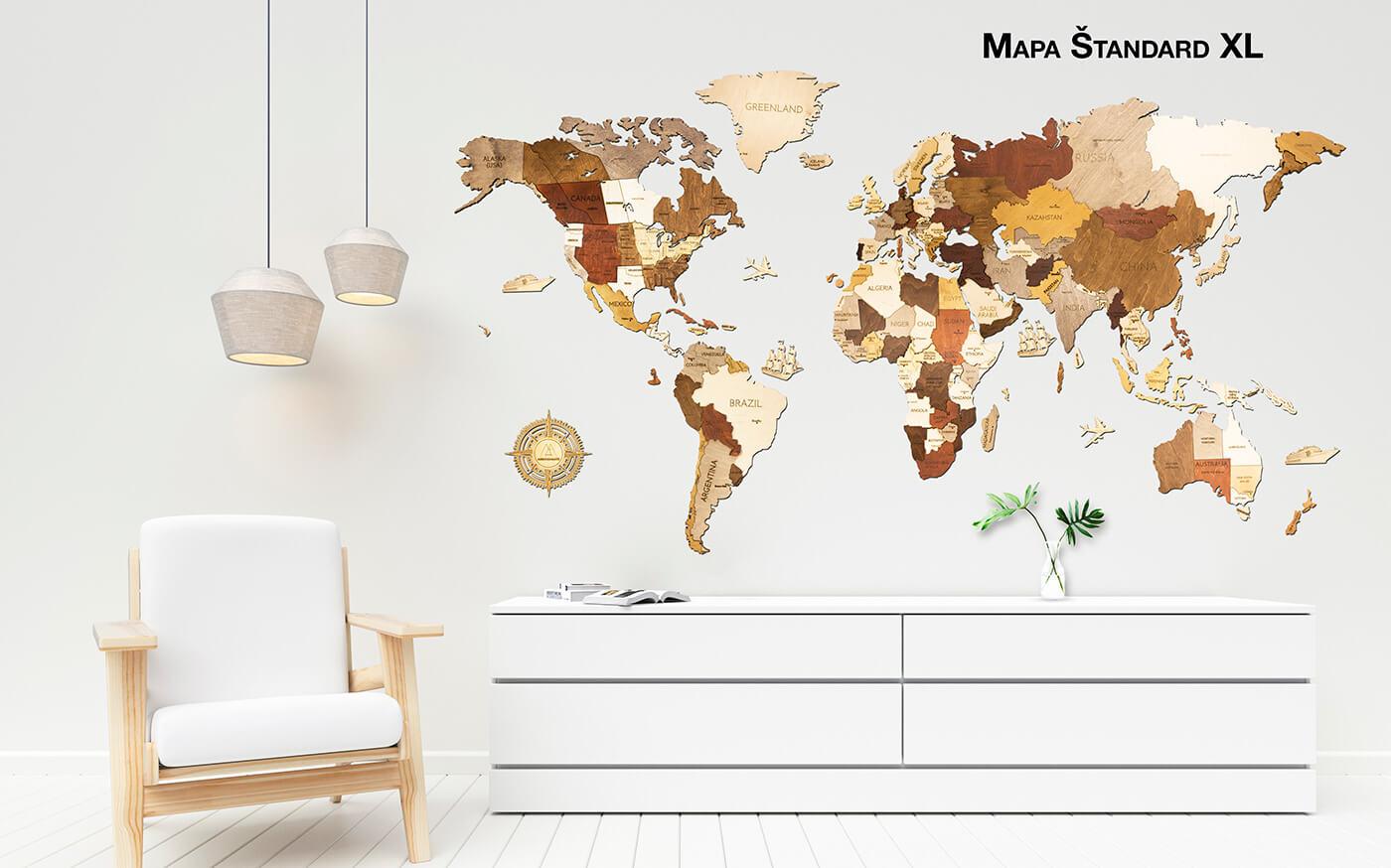 Drevená mapa sveta XL štandard (rozmer 200 x 100 cm)