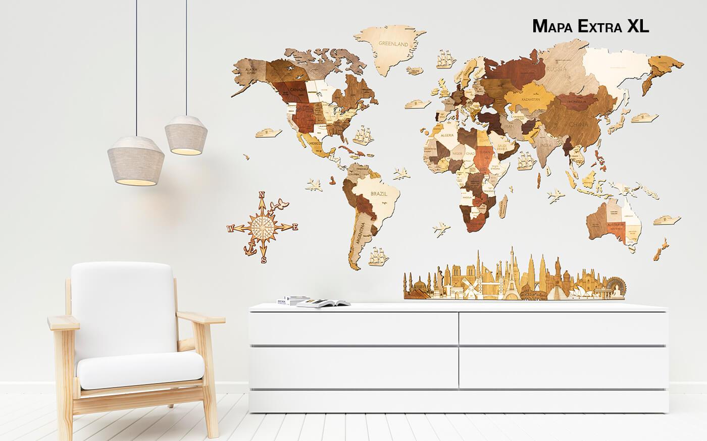 Drevená mapa sveta XL - de luxe (rozmer 200 x 100 cm)