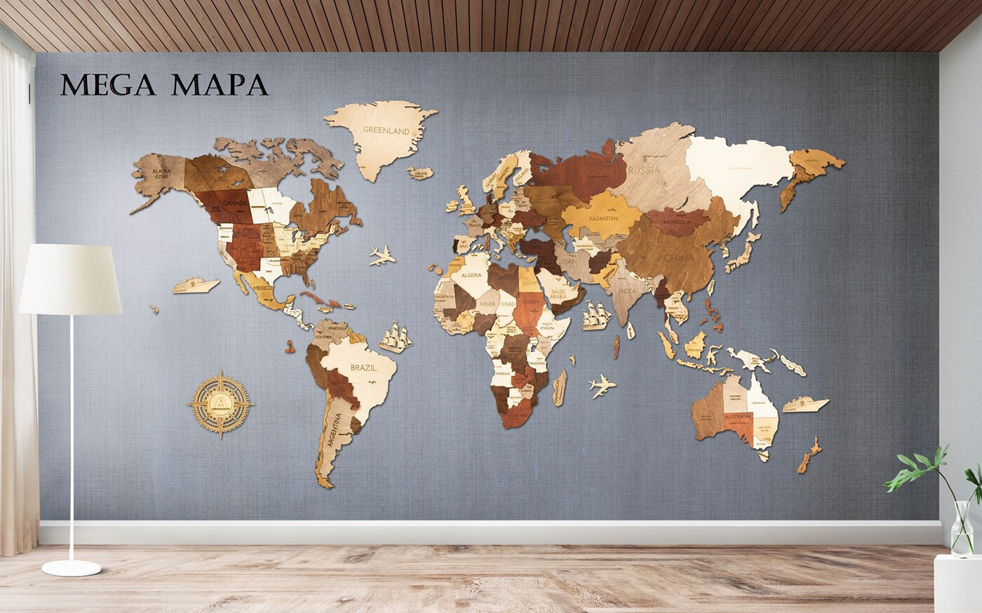 Drevená mapa sveta MEGA (rozmer 300 x 150 cm)