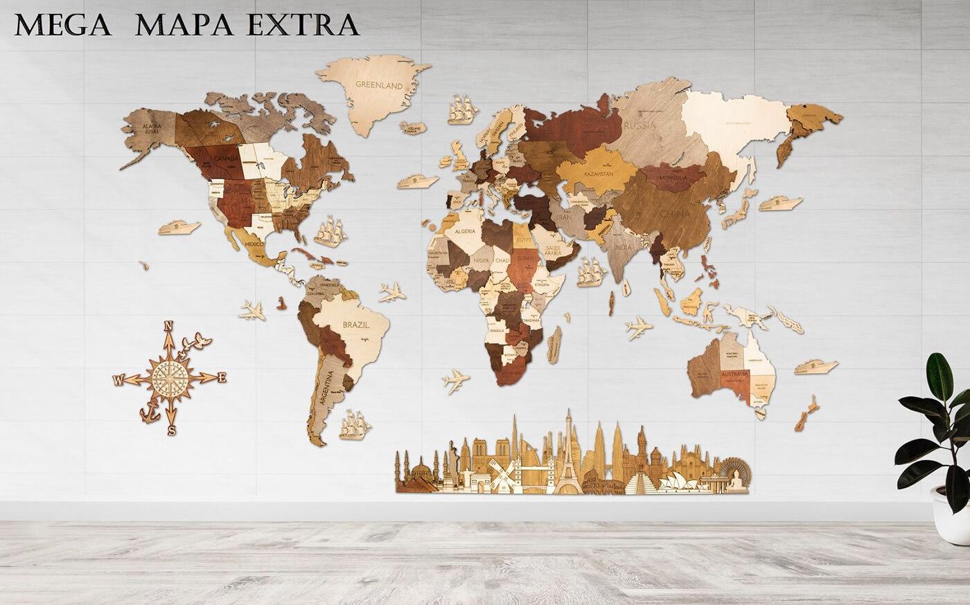 Drevená mapa sveta MEGA EXTRA - de luxe (rozmer 300 x 150 cm)