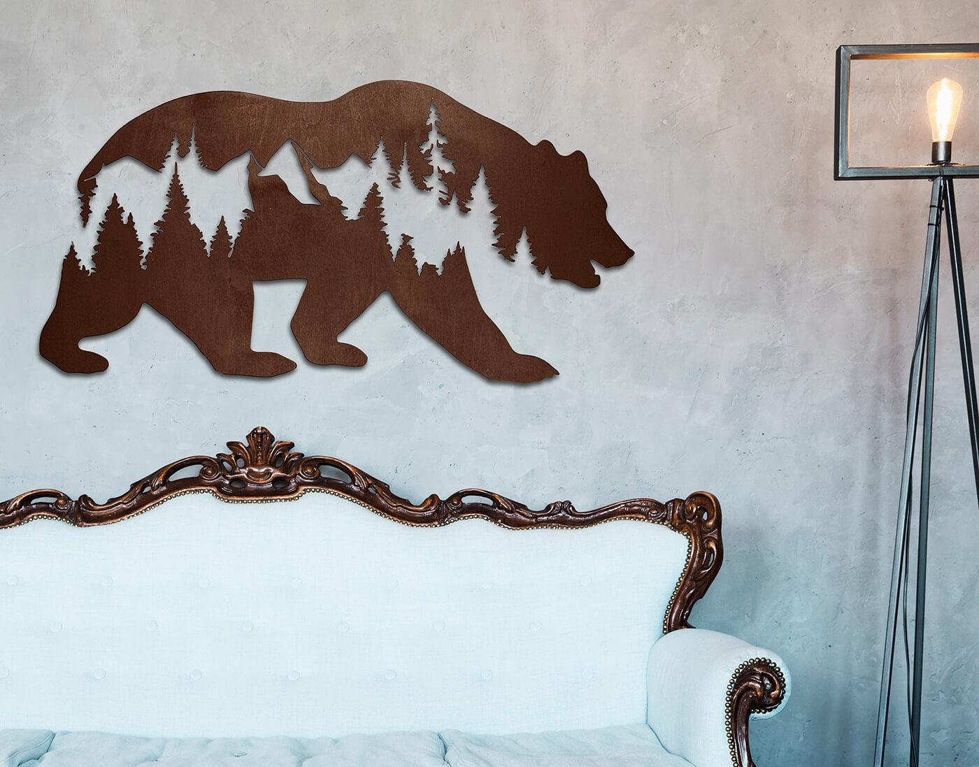 Medveď a hory 88 x 45 cm