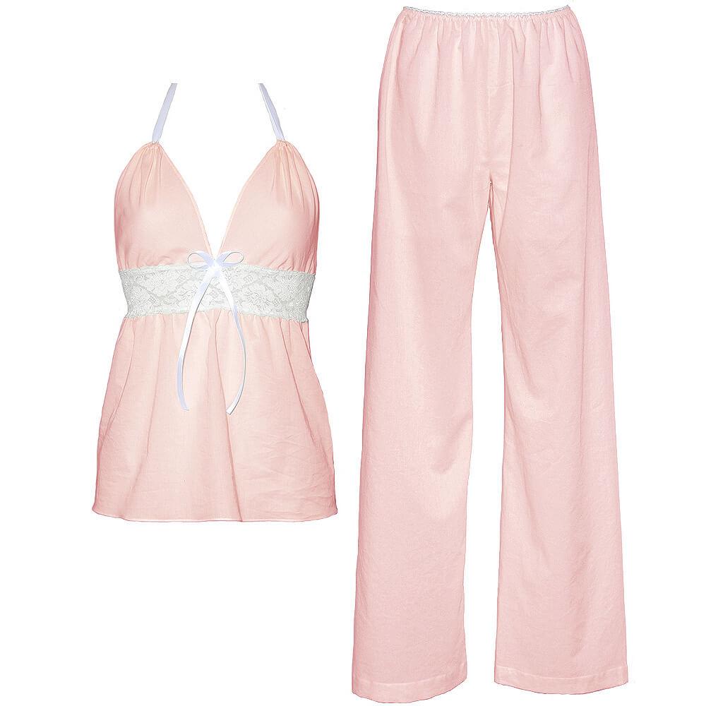Dámska bio bavlnená košieľka a nohavice Lullaby - svetloružová, veľkosť S