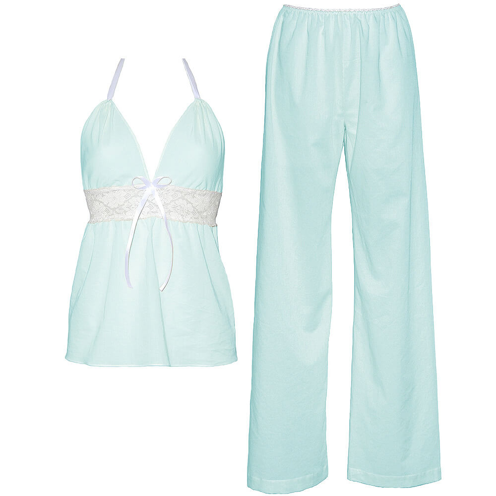 Dámska bio bavlnená košieľka a nohavice Lullaby - svetlomodrá, veľkosť L