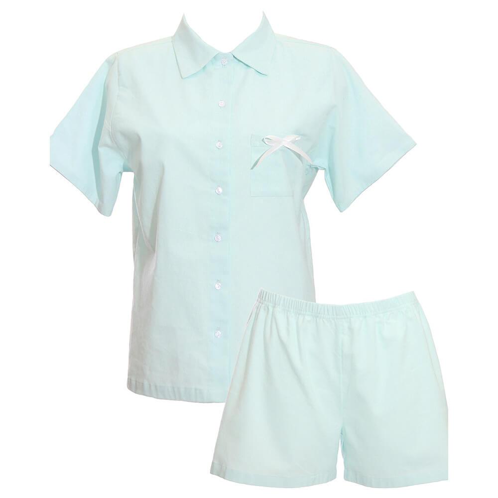 Dámske pyžamo Lotus bio bavlna a flanel (košeľa s krátkym rukávom a šortky) - svetlomodrá, veľkosť S