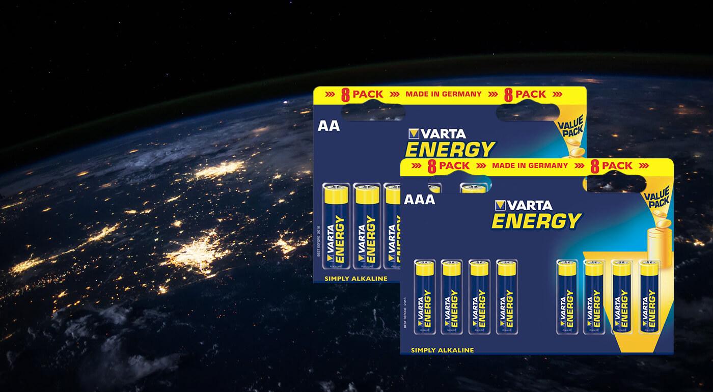 Alkalické baterky Varta Energy vo výhodnom 8-kusovom balení