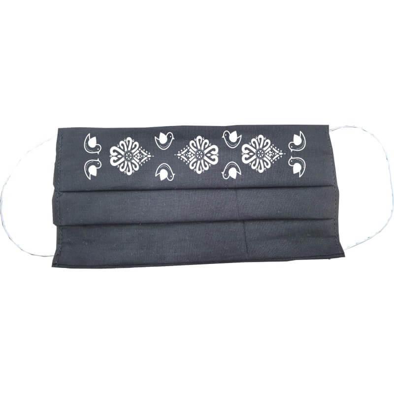 Bavlnené rúško obdĺžnikové pre dospelého - čierne