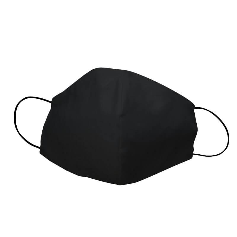 Bavlnené rúško oválne pre dospelého - čierne bez vzoru