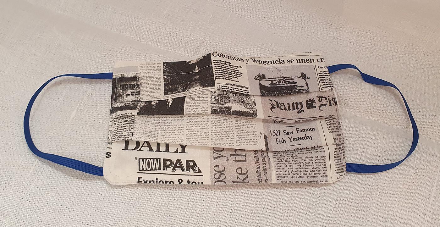 Bavlnené rúško pre dospelého - vzor Noviny