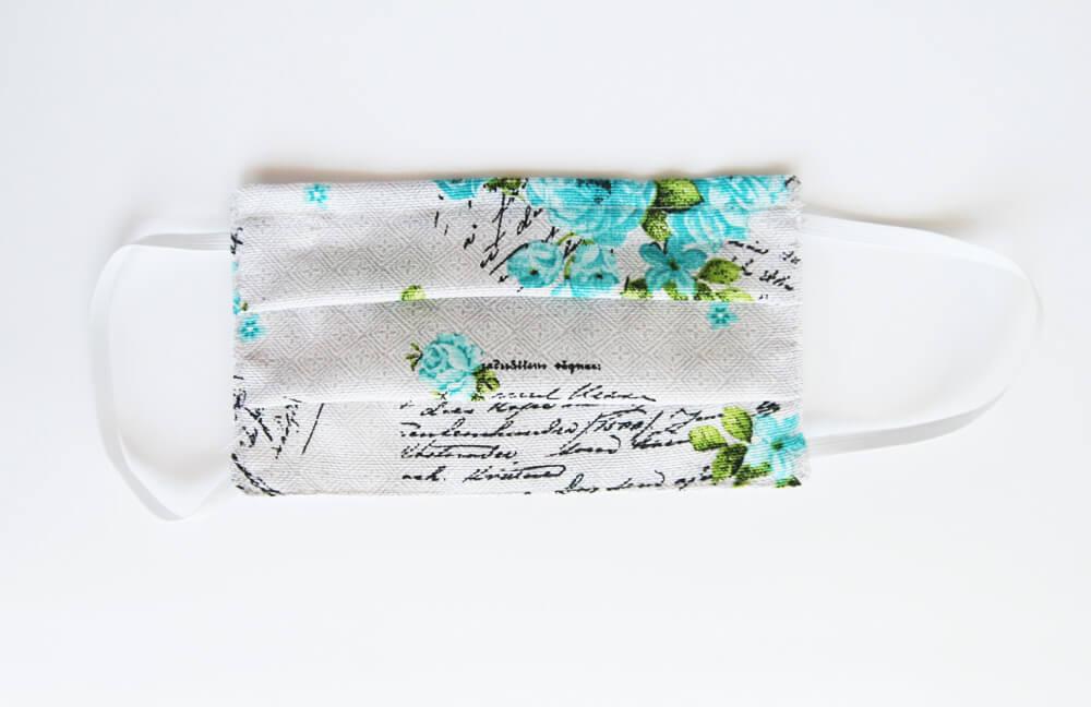 Bavlnené rúško pre dospelého - vzor Kvety