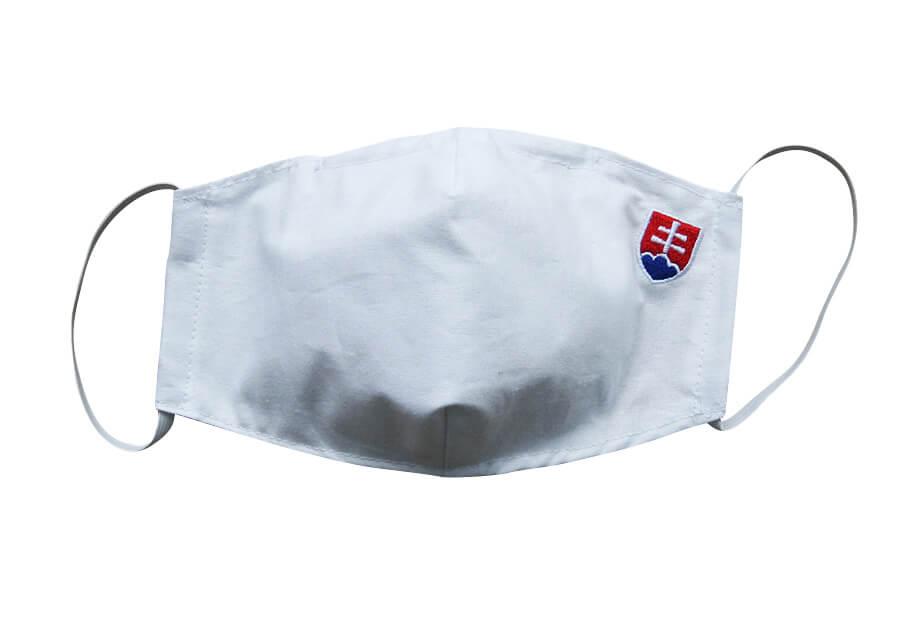 Bavlnené rúško pre dospelého s plieškom na nose - vzor Slovensko - biele