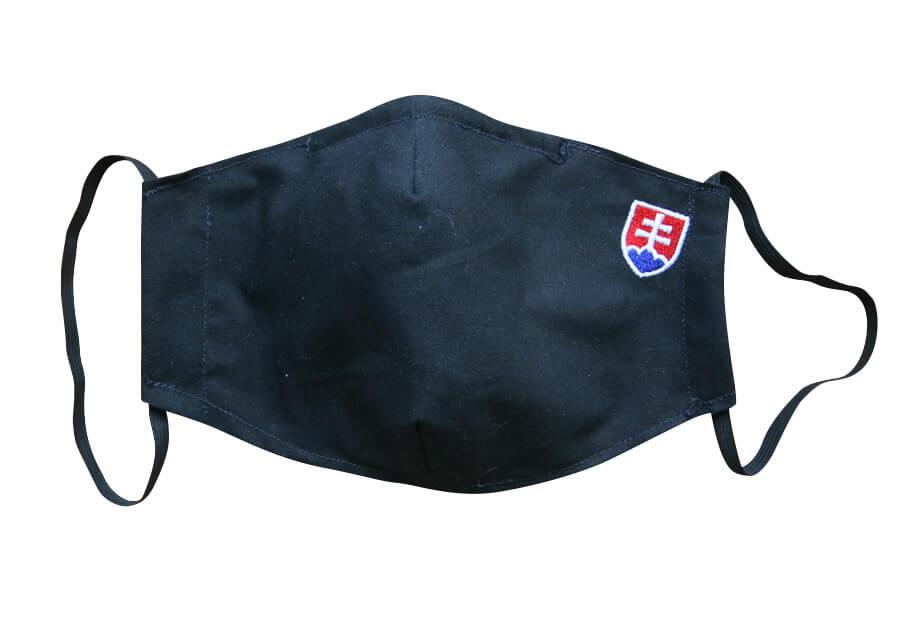 Bavlnené rúško pre dospelého s plieškom na nose - vzor Slovensko - čierne