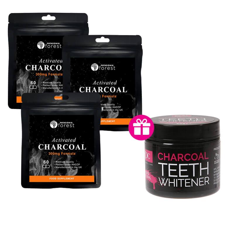 Patagonia Forest: 3x Aktívne uhlie 300 mg (balenie 60 tabliet) + darček Aktívne uhlie na bielenie zubov