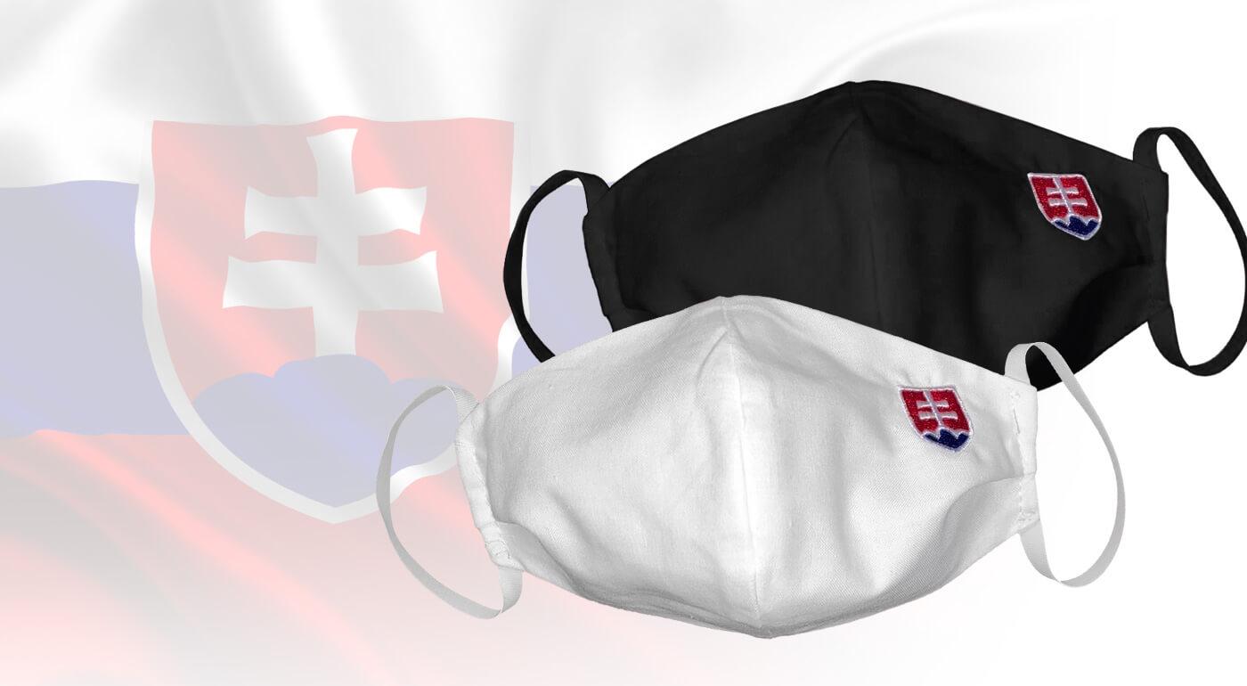 Rúška Slovensko zo 100% bavlny s vyšitým slovenským znakom - vyrobené na Slovensku