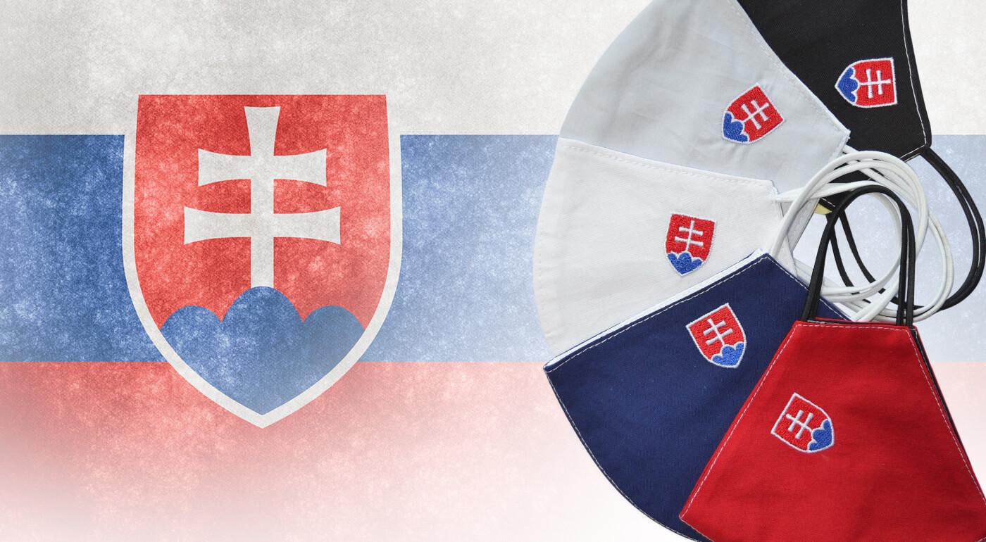 Rúška Slovensko zo 100% bavlny s vyšitým slovenským znakom - teraz aj v akcii 2+1 GRÁTIS!