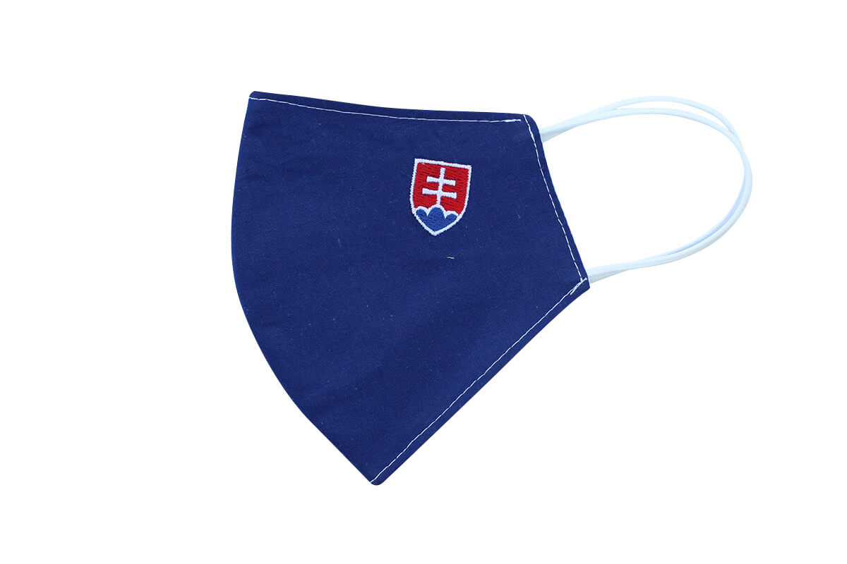 Rúško - maska so slovenským znakom - modrá, veľkosť M