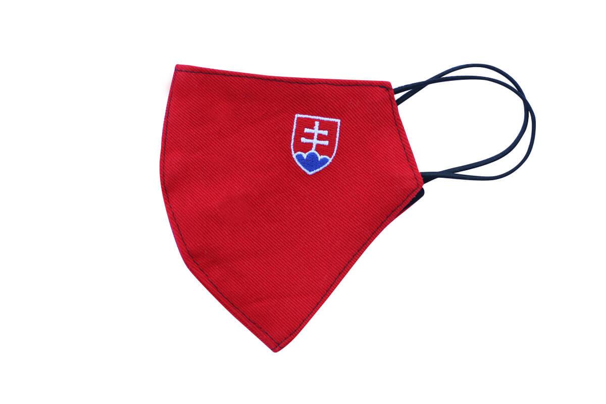 Rúško - maska so slovenským znakom - červená, veľkosť M